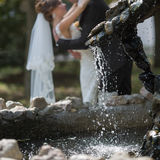 Just married behind fountain. Focus on foreground Stock Image