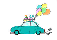 Just Married - blue car and balloons Stock Photos