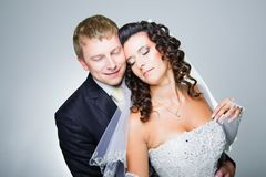 Just married bride and groom Royalty Free Stock Images