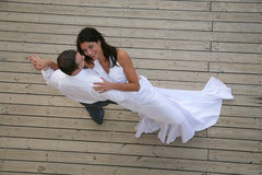 Just Married - bride and groom dancing Stock Photography