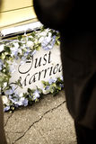 Just married bumper. Bumper of limousine with just married sign Stock Images