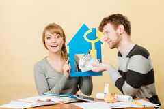 Just married buying house. Royalty Free Stock Photo