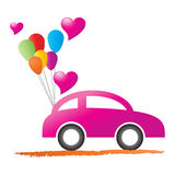 Just married car. Illustration of just married car on white background Stock Images