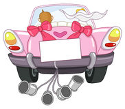 Just married car. Illustration of a just married pink car Stock Images
