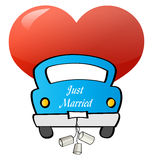 Just Married - Car. Blue Car w/ Just Married Sign with red heart Royalty Free Stock Photography