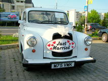 Just married car Royalty Free Stock Images