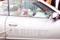 Just married car convertible Royalty Free Stock Images