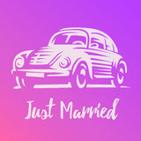 Just married car isolated, vintage. vector illustration Royalty Free Stock Images
