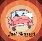 Just married. Car  over grunge background. vector illustration Stock Photography