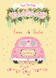 Just married car with save the date wedding invitation card. Silhouette bride and groom in the car Stock Photo