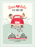 Just married car wedding invitation design Royalty Free Stock Image