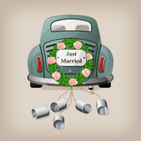 Just married on car. Stock Photo