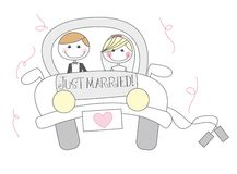 Just married cartoon. Just married cartton with men and woman cartoon Stock Photo