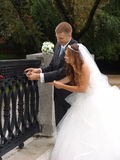 Just married. Lock of love Stock Photo