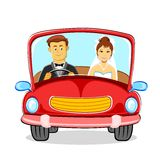 Just married Couple. Illustration of just married couple in car Stock Images