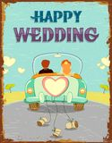 Just Married Couple. Illustration of just married couple in car on vintage background Stock Photography