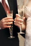 Just married couple. With glasses of champaign Royalty Free Stock Photo