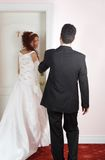 Just married couple. Portrait of enamoured just married couple stock photo