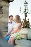 Just married couple on the Alexandre III bridge Royalty Free Stock Photo