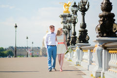 Just married couple on the Alexandre III bridge Royalty Free Stock Image