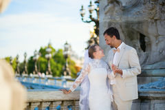Just married couple on the Alexandre III bridge Stock Images