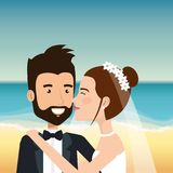 Just married couple in the beach Royalty Free Stock Images