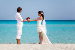 Just married couple on the beach Royalty Free Stock Photos