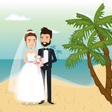 Just married couple in the beach. Vector illustration design Stock Image