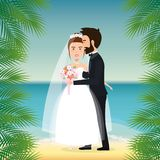Just married couple in the beach. Vector illustration design Stock Images