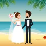 Just married couple in the beach. Vector illustration design Stock Photography