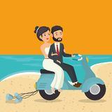 Just married couple in the beach with motorcycle Stock Photography