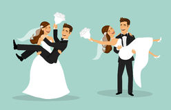 Just married couple, bride and groom carry each other after wedding ceremony. Just married funny couple, bride and groom carry each other after wedding ceremony stock illustration