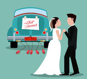 Just married couple with car vintage Stock Photo