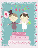 Just married couple cartoon Stock Images