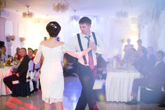 Just married couple dancing Stock Images