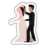 Just married couple dancing together Stock Images