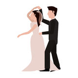 Just married couple dancing together Stock Photos