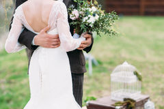 Just married couple dancing valse outdoor Royalty Free Stock Photography