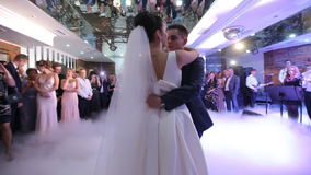 Just married couple is dancing at wedding party stock video
