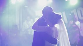 Just married couple is dancing at wedding party. Bride and groom dance stock video footage