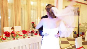 Just married couple is dancing at wedding party stock video footage