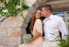 Just married couple embraced bride and groom rustic style weddin Stock Images