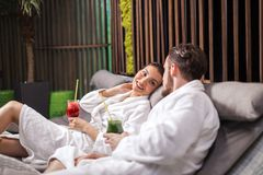 Just married couple enjoying spa wellness treatments indoors royalty free stock photos