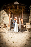 Just married couple in front of the church door. Happy familly Stock Images