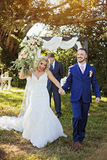 Just married couple in garden
