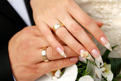 Just married couple hands. Close up just married couple hands Royalty Free Stock Images