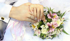 Just married couple hands Royalty Free Stock Image