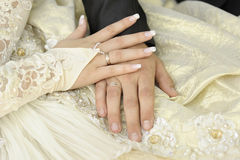Just married couple hands. Focus on a bride hand Royalty Free Stock Images