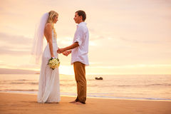 Just married couple holding hands on the beach at sunset Royalty Free Stock Photos
