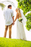 Just married couple holding hands Royalty Free Stock Images